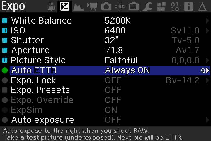 Exposure Menu